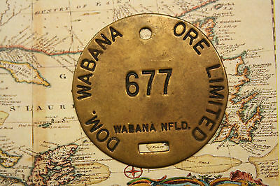 NEWFOUNDLAND WABANA BELL ISLAND MINER'S TAG - LOW # 677. lot nf200A