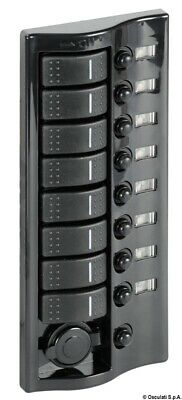 Polished Graphite Electric Control Panel with 8 Flush Rocker Switches Osculati