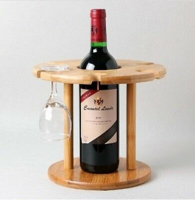 Bamboo Wine Rack for a bottle and glasses. Ellies Home. Brand New