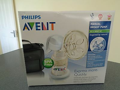 """Philips Avent Manual Breast Pump. NEW. """" Out & About """" set."""