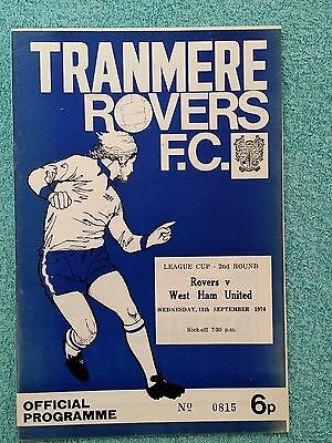 1974 - TRANMERE ROVERS v WEST HAM UTD PROGRAMME - LEAGUE CUP 2ND ROUND