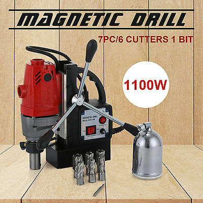 """MD40 Magnetic Drill Press with 7PC 1"""" HSS Cutte Kit Rack Electromagnetic 550RPM"""