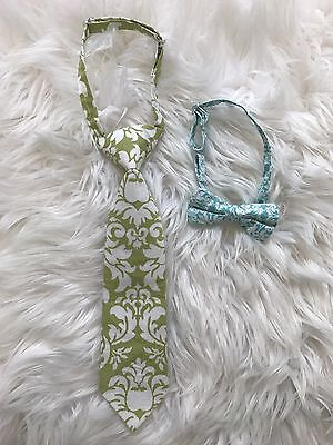 Boy's Toddler Neck Tie And Bow Tie Adjustable Green Blue Linen Blend