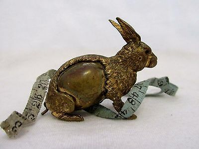 Hard To Find Antique Brass Rabbit Hare Bunny Figural Tape Measure W/Wind Up Tail