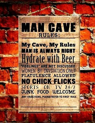 Man Cave Rules Wooden Hanging Plaque Men Indoor Decoration Sign Board welcome