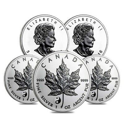 Lot of 5 - 2016 1 oz Silver Canadian Maple Leaf Yin Yang Privy Reverse Proof $5