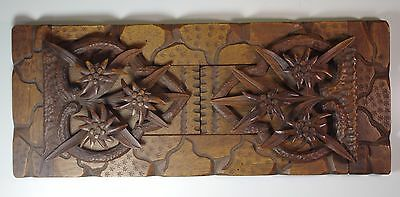 Beautiful Carved Wood Antique Black Forest Fold Away Expendable Book Shelf