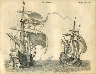 Antique print CARRACKS GALLEONS 17th Cent TALL SHIPS engraving - 1842