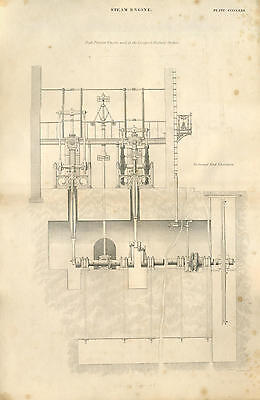 Antique print STEAM ENGINE - LIVERPOOL RAILWAY 2 - copper plate engraving - 1842