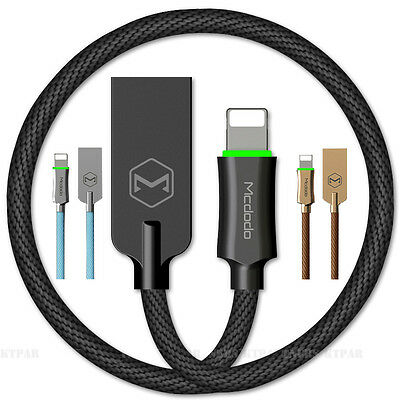 MCDODO Smart LED Auto Disconnect Lightning USB Data Charging Cable Cord iPhone 7
