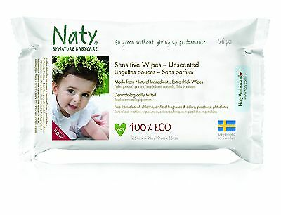 Naty by Nature Babycare ECO Unscented Sensitive Wipes - 12 x Packs of 56 (672...