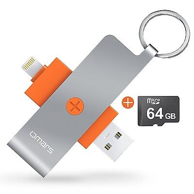 iOS Flash Drive USB 3.0 OMARS Micro SD Card Reader (64GB Micro SD included) w...