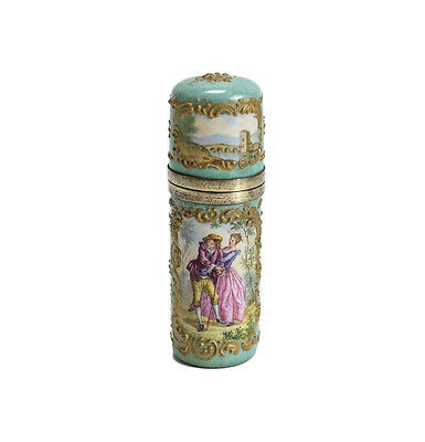 French Gilt Sterling Silver hand painted enamel lay down Perfume Bottle 19th Cen