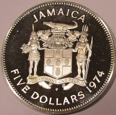 1974 Jamaica Proof Silver 5 Dollars - KM# 62a