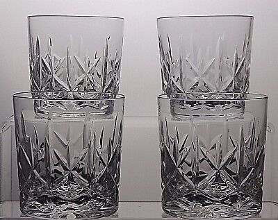 "Brierly Hill Crystal ""mackensie"" Cut Glass Whisky Tumblers Set Of 4 - 3 1/3""tall"