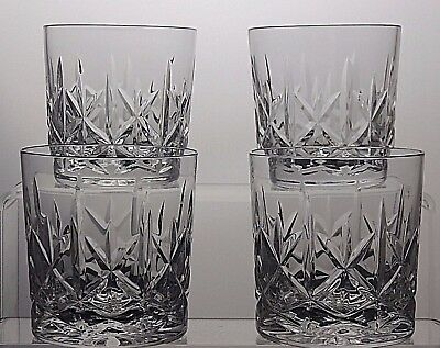 Crystal Cut Glass Whiskey Tumblers Whisky Spirit Drinking Glasses Set Of 4