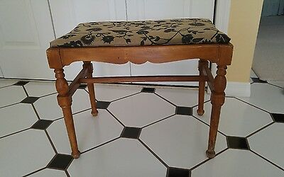 1940s VTG WOOD BENCH PIANO VANITY  STOOL SEWING DRESSING TABLE