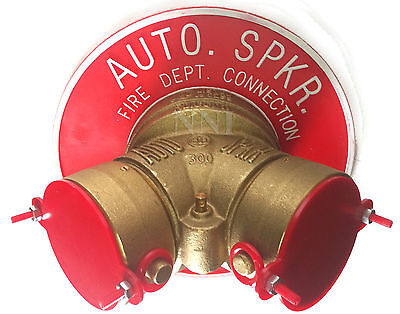 """4"""" x 2-1/2"""" Y Siamese Fire Department Connection complete with BreakCaps & Plate"""