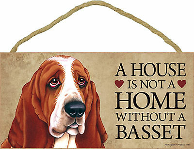 A house is not a home without a Basset Wood Basset Hound Puppy Dog Sign USA Made