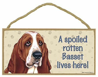 A spoiled rotten Basset lives here! Wood Basset Hound Puppy Dog Sign Made in USA