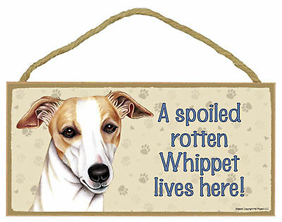 A spoiled rotten Whippet lives here! Wood Puppy Dog Sign Plaque Made in USA