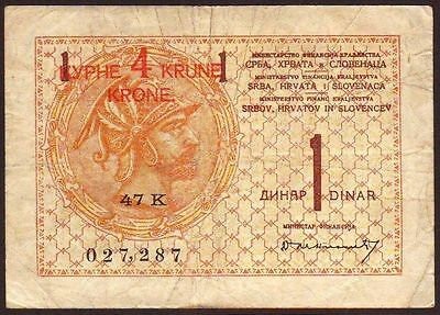 YUGOSLAVIA   4 Kronen on 1 Dinar  ND (1919)