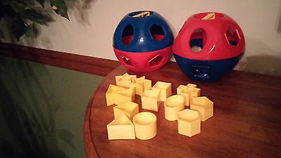 Vintage Tupperware Ball Shape O Sorter 13 Pieces Learning Toy - Lot of 2