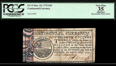 $20 March 10, 1775 Continental Currency FR CC-9 RARE BEN FRANKLIN MARBLED BORDER