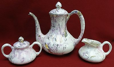 SASCHA BRASTOFF Surf Ballet Pink & Gold pattern Coffee Pot Creamer & Sugar Bowl