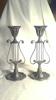Pair of LYRE or HARP Shaped Candlesticks that look to be dated 1848 on bottom-GC