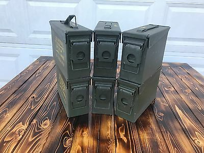 6 Pack 30 .30 Cal M19A1 AMMO CANS BOXES CASES FREE SHIPPING! Good condition