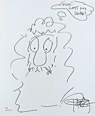 Tommy Chong Original Hand Drawn Signed Sketch 8x10 Photo JSA Authentic WP413317