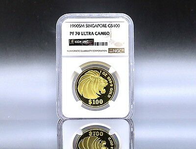 1990, Singapore $100 1 Once Gold Proof Lion Coin NGC PF70 Ultra Cameo