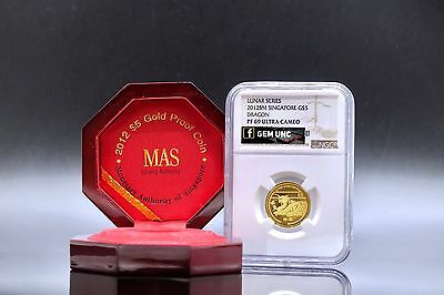2012, Singapore $5 Lunar Dragon Year Gold Proof Lion Coin NGC PF69 Ultra Cameo