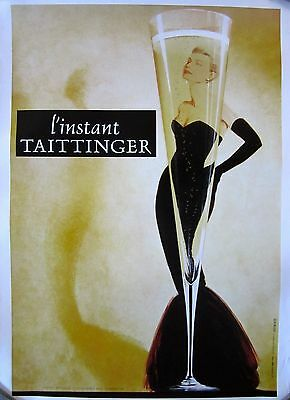 "Famous ""Taittinger Champagne"" with Grace Kelly Poster on Linen"