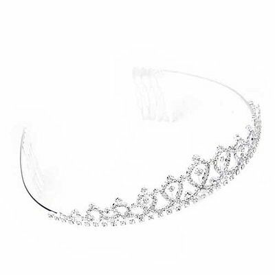 Silver Plated Jewelry Rhinestone Bride Headband Tiara Hair Band + Comb