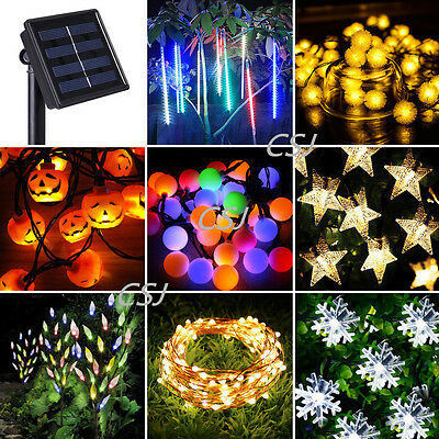 Solar Power LED Fairy String Lights Snow Ball Star Meteor Shower Xmas Tree Lamp