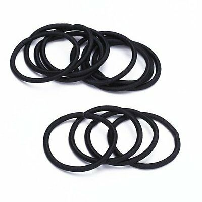12pcs Women Elastic Hair Tie Band Rope Ring Ponytail Holder Nylon Black