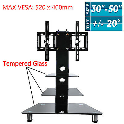 """42"""" Glass TV Stand with Bracket Tempered Plasma LCD LED For 30-50 inch furniture"""