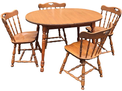 Vintage S. Bent U0026 Bros Maple Chairs With Dining / Kitchen Table Leaf  Colonial