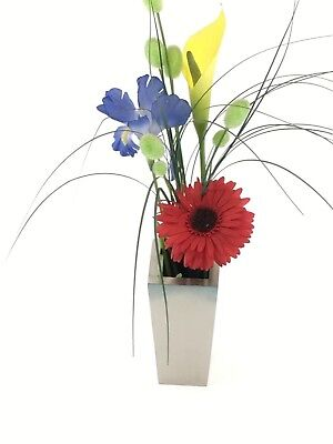 Stainless Steel Modern Square Vase Flower Planter Container Home Garden RRP $20