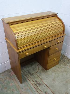 TAMBOUR PINE ROLL TOP FRONTED KNEE HOLE OFFICE DESK, With 4 DRAWERS
