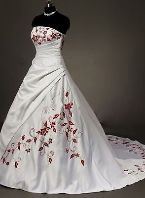 STOCK New White and Red Embroidery Bridal Wedding Dress Size 6 ~22