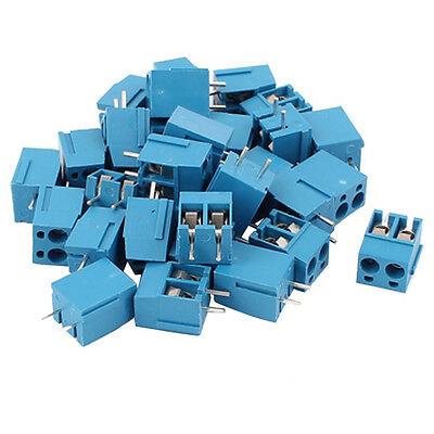 30Pcs 2 Way 2P PCB Mount Screw Terminal Block Connector 5.08mm Pitch Blue