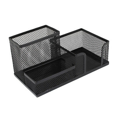 Students Office Desk Mesh Style 3 Compartments Metal Pen Holder Black