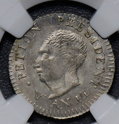 NG0329 Haiti 1817 AN 14 25 Cents silver  NGC MS 64 rare in this grade  combine s