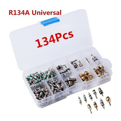 134 Pcs A / C Core Valves R134A Autos Air Conditioning & Remover Kit With Box