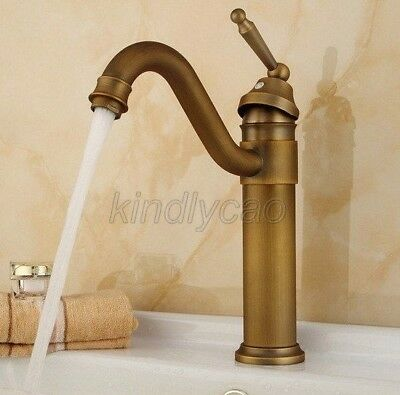 Antique Brass Swivel Spout Kitchen Basin Sink Mixer Tap Laundry Faucet Knf204