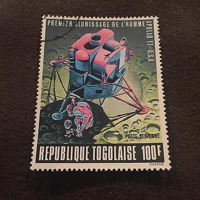 Republique Togolaise 100F Apollo 11 Stamp Man On The Moon In Space