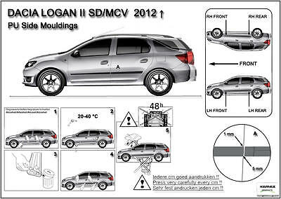 Moulding Side Protector Door Protection for Dacia Logan II MCV estate 2013-